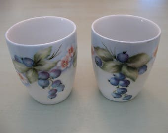 Juice Glasses-- Handpainted China with Blueberries--Vintage and Darling