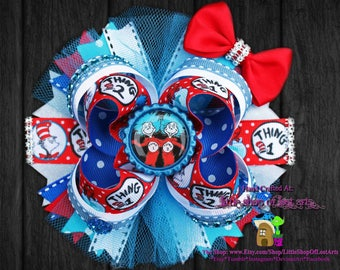 Dr. Seuss inspired thing one thing two deluxe hairbow