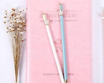 Tiffany Blue or White Daisy Pen 0.5mm Black Gel Ink P5203KP
