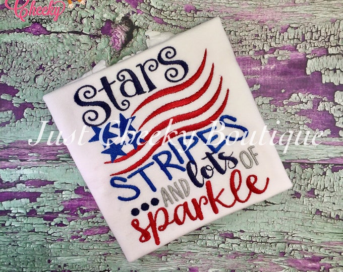 Stars Stripes and Sparkle - Girls 4th of July Shirt - Boys 4th of July Shirt - Kids Patriotic Shirt - Independence Day Shirt