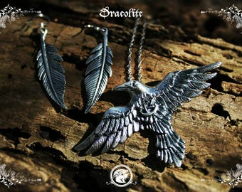 Sterling silver spiritual guide crow necklace with pentagram - Handmade medieval sterling silver necklace