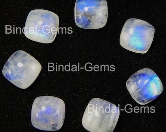 25 Pieces Rainbow Moonstone 4X4 MM Gemstone Cushion Cabochon
