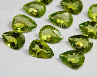10 Pieces Natural Peridot Gemstone Shape Pear Faceted Cut
