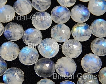 25 Pieces Lot Rainbow Moonstone 4X4 MM Round Rose Cut Loose Gemstone