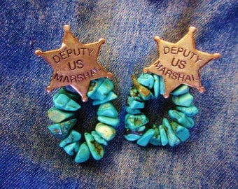 "Sterling Silver ""Deputy U.S. Marshall"" Star with Turquoise Earrings - Pierced"