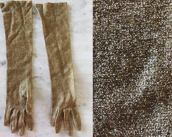 vintage gold gloves // gold metallic glitter gloves // gold lamé gloves // vintage long gloves
