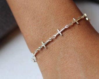 Sideway Cross Bracelet, Silver Cross Bracelet, Dainty Cross Bracelet, Cross Chain Bracelet, Skinny Cross Bracelet, Linked Cross Bracelet