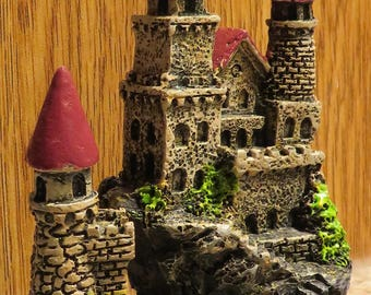 "Miniature CASTLE Fairy Garden Terrarium Diorama Dollhouse, with Turrets and Bridge, Poly Resin, 4"" x 3"" (#2)"