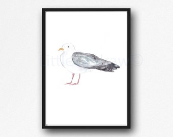 Bird Print Seagull Bird Print Watercolor Painting Art Print Illustration Art Drawing Watercolor Print Living Room Decor Unframed