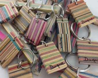 Upcycled Wooden Skateboard key chain handmade by Duque Skate Art recycled