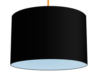 Black Linen Fabric Drum Lampshade With Contrasting Baby Blue Cotton Lining, Small Lampshade 20cm - Large Lampshade 40cm or Custom Size
