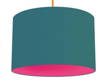 Teal Linen Fabric Drum Lampshade, Contrasting Azalea Bright Pink Cotton Lining, Small Lampshade 20cm - Large Lampshade 40cm or Custom Size