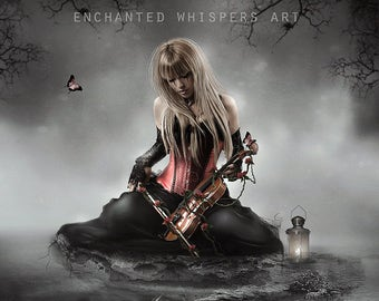 Gothic fantasy fantasy woman with violin art print