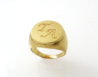 Men monogram ring. College ring. Initial ring. Gold monogram ring. Men initial band. Mens initial ring.  ring.1613