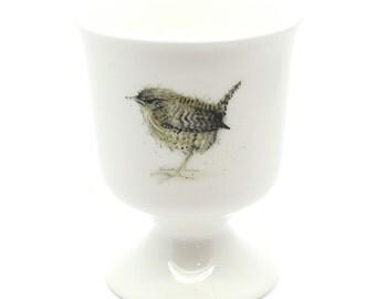 Wren Egg Cup -  fine bone china, country kitchen, garden bird gift