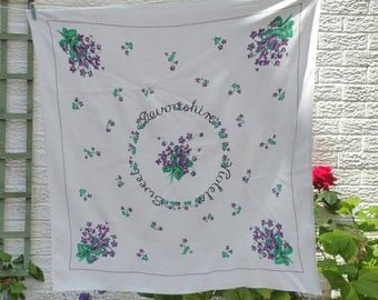 Vintage Square Tablecloth  in white with devonshire sweet violets design.