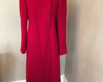 Vintage Women's FORSTMANN Long Red Fully Lined WOOL Winter COAT