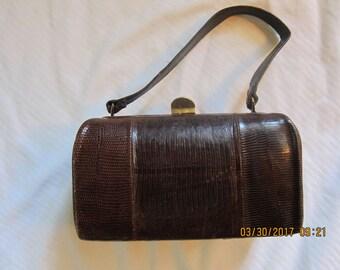Vintage lizard skin box handbag