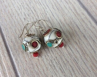 Ethnic Earrings, Tribal Earrings, Turquoise and Coral Earrings, St Patrick's Day, Nepal Jewelry, Spring Jewelry, Tibet Beads, Birthday Gift
