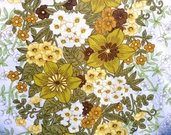 60s big vintage mid century modern tablecloth floral pattern. Retro design with colorful flowers and leaves. Spring Easter Osrey fabrics US.