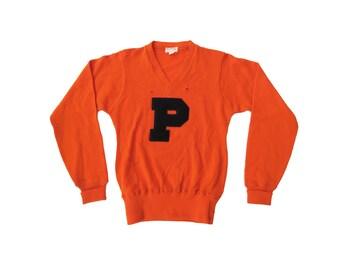 Vintage Collegiate Orange and Black Letterman P Heavy Knit Wool Sweater