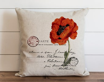 Poppy 20 x 20 Pillow Cover // Everyday // Spring // Throw Pillow // Gift // Accent Pillow // Cushion Cover