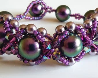 Amethyst Hugs and Kisses Bracelet, Swarovski Crystals and Pearls