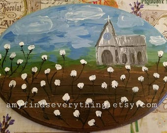 Church in the Cotton Fields Painting