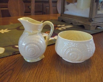 Vintage Belleek Creamer and Sugar Bowl