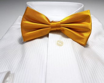 Yellow Gold Silk Bow Tie with Gift Box