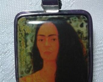 Pendant of Frieda. A self portrait set in sterling silver