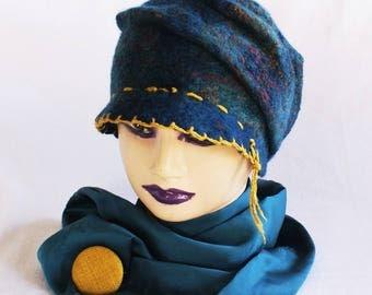 Contrast Boho Stitch Visor Hat Handmade Wool Dark teal Blue-green Petrol blue  Hat Felted Casual Hat Slouchy beanie Handmade Bohemian Stitch