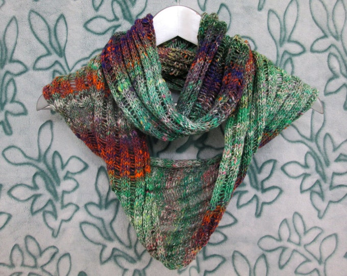 Noro Infinity Scarf - Greens Whites Purples Oranges - Drop-Stitch