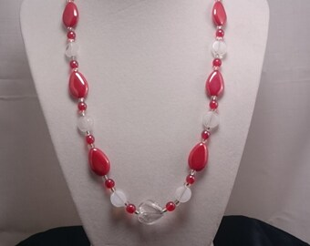 Handmade red and white beaded necklace