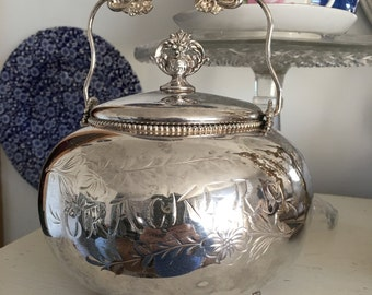 English Cracker Biscuit Container English Tea Party Server Round Silver Ornate Handle and  Top