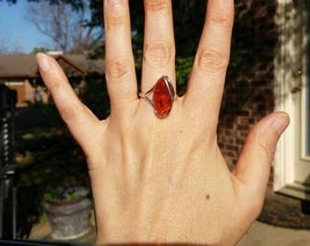 Beautiful Orange Amber Sterling Silver Ring Size 9.5
