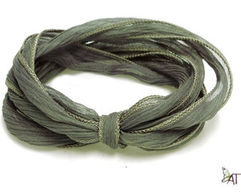 100% Silk Crinkle Ribbon- Hand Dyed - SAGE GREEN