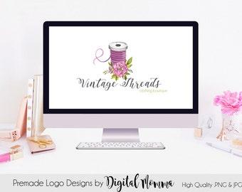 Premade Vintage Threads Logo Design, Sewing Logo, Floral Thread, Seamstress Logo Design