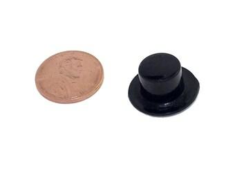 Top Hats - Black Plastic (19 x 11mm, 48/pcs)
