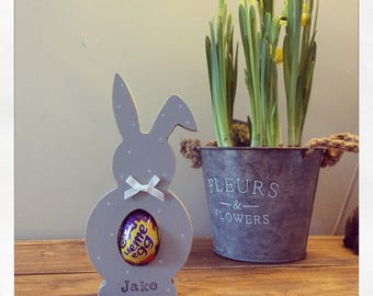 Easter bunny kinder creme egg holder wooden egg gift first easter personalised bunnies rabbit decoration