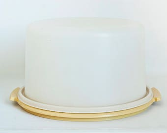 Vintage Tupperware Cake Carrier, Harvest Gold Cake Taker Covered Cake Container
