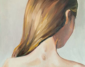 Young Woman with Light Brown Hair- Original Oil Painting- Beautiful Female Portrait with Hair Pulled Over Her Shoulder- Nude Bust Figure Art