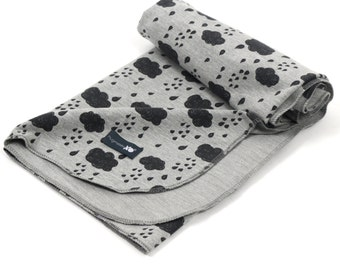 OEKO Tex certified french terry swaddle blanket - Gender neutral, grey with clouds - multi use blanket - stroller blanket - ready to ship