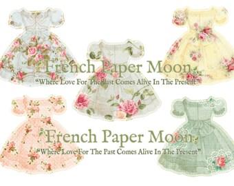 Shabby Chic Floral Dress, Vintage Floral Wallpaper Dresses, Clipart Dress, Paper Dress, Printable Dress, Dress Diecut