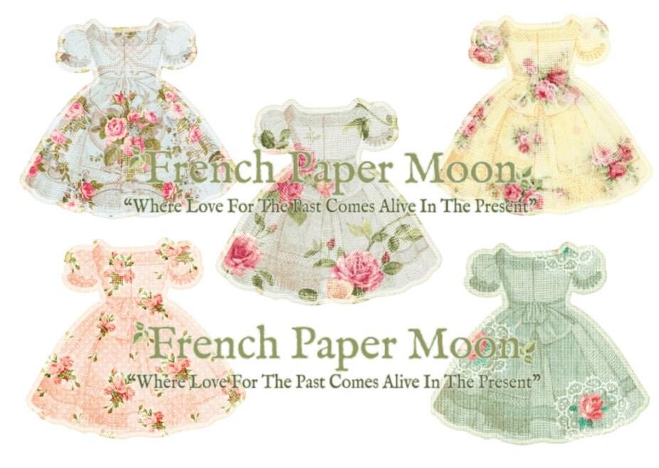 Shabby Chic Floral Dress Vintage Wallpaper Dresses Clipart Paper Printable Diecut