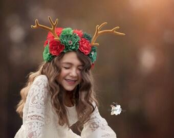 deer ears headband - antler headband - christmas reindeer antlers - deer headband -  antlers -girls flower headbands - Christmas headband