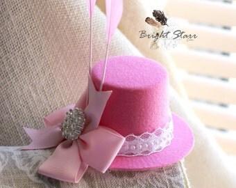 Pink fascinator - mini top hat - pink mini top hat - Valentines headband - Valentine's day hat - pink headband - Mini hat - kid fascinator