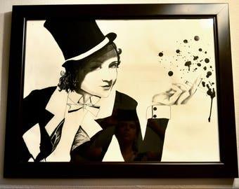 """21"""" x 27"""" Framed Marlene Dietrich Ink Art - Interior Design Concept - Artist Brigitte Trevino - Houston, Texas"""