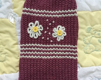 Puple 3legged pet sweater with flowers