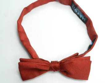 70s scarlet red polyester Velcro back bowtie